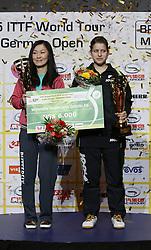 22.03.2015, OEVB Arena, Bremen, GER, Tischtennis German Open 2015, im Bild Petrissa Solja rechts und Shan Xiaona (beide GER) nach ihrem Sieg des Finales im Doppel der Damen, jubel, jubelt, freude, freuen, Sieg, siegreich // during the Ping pong German Open 2015 at the OEVB Arena in Bremen, Germany on 2015/03/22. EXPA Pictures &copy; 2015, PhotoCredit: EXPA/ Eibner-Pressefoto/ Wuest<br /> <br /> *****ATTENTION - OUT of GER*****