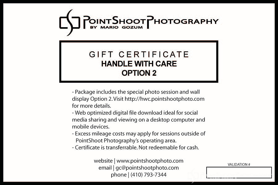PointShoot Photography Handle With Care - Option 2 gift certificate. Total Package Price: $569.00