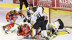 03.03.2015, Stadthalle, Klagenfurt, AUT, EBEL, EC KAC vs Dornbirner Eishockey Club, Qualifikationsrunde, im Bild Patrick Harand (EC KAC, #16), Thomas Hundertpfund (EC KAC, #27), Robert Lembacher (Dornbirner Eishockey Club, #81), Nathan Lawson (Dornbirner Eishockey Club, #52) // during the Erste Bank Icehockey League qualification round match betweeen EC KAC and Dornbirner Eishockey Club at the City Hall in Klagenfurt, Austria on 2015/03/03. EXPA Pictures © 2015, PhotoCredit: EXPA/ Gert Steinthaler