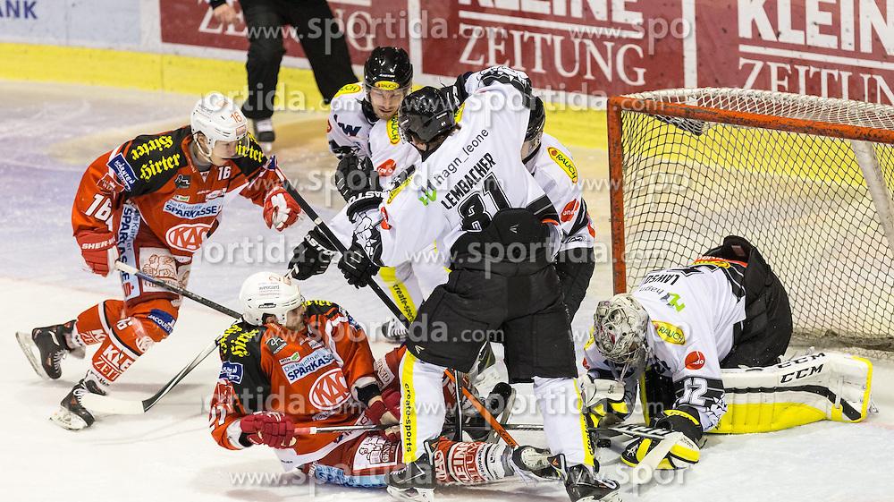 03.03.2015, Stadthalle, Klagenfurt, AUT, EBEL, EC KAC vs Dornbirner Eishockey Club, Qualifikationsrunde, im Bild Patrick Harand (EC KAC, #16), Thomas Hundertpfund (EC KAC, #27), Robert Lembacher (Dornbirner Eishockey Club, #81), Nathan Lawson (Dornbirner Eishockey Club, #52) // during the Erste Bank Icehockey League qualification round match betweeen EC KAC and Dornbirner Eishockey Club at the City Hall in Klagenfurt, Austria on 2015/03/03. EXPA Pictures © 2015, PhotoCredit: EXPA/ Gert Steinthaler