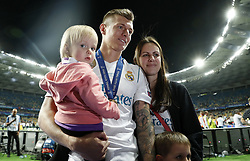 Toni Kroos of Real Madrid with his daughter Amelie, his wife Jessica and his son Leon during the UEFA Champions League final between Real Madrid and Liverpool on May 26, 2018 at NSC Olimpiyskiy Stadium in Kyiv, Ukraine