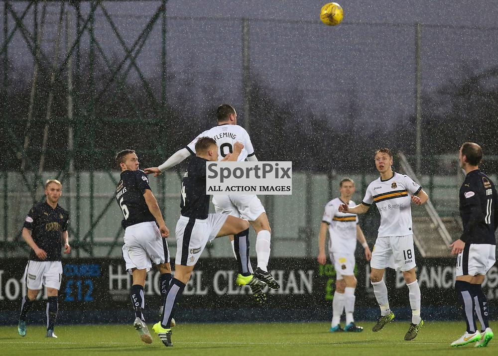 Garry Fleming jumps highest for the ball during the Falkirk v Dumbarton  Scottish Championship  26  December 2015 <br /> <br /> (c) Andy Scott | SportPix.org.uk