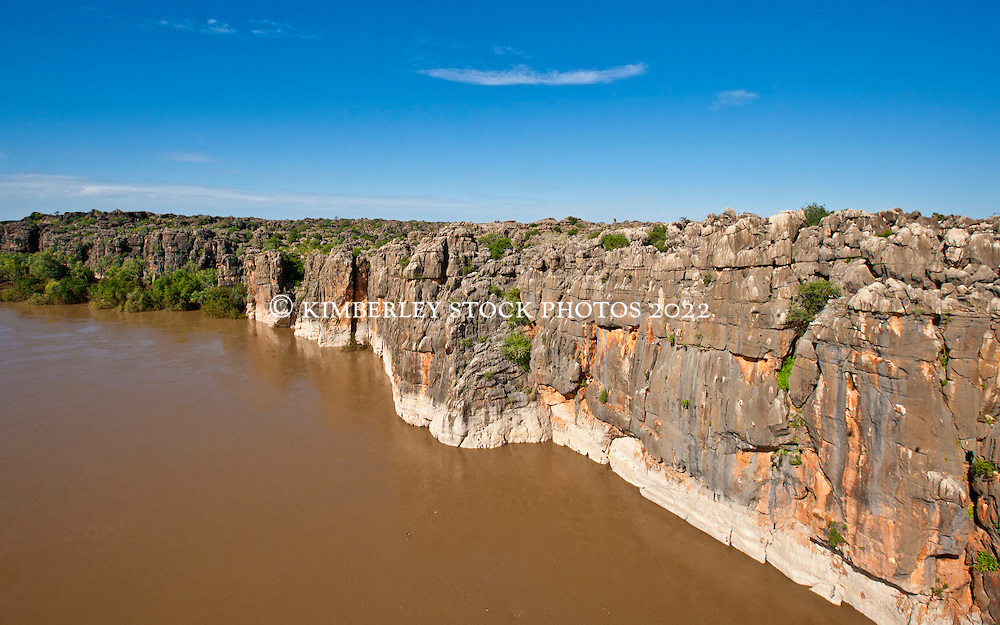 The Fitzroy River cuts through the ancient Devonian reef at Geikie Gorge.