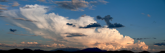Monsoons over Northern Arizona's San Francisco Peaks with craters east and west