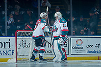 KELOWNA, CANADA - FEBRUARY 2: Brodan Salmond #31 of the Kelowna Rockets stands in net and fist bumps team mates as part of a pre-game ritual against the Everett Silvertips  on FEBRUARY 2, 2018 at Prospera Place in Kelowna, British Columbia, Canada.  (Photo by Marissa Baecker/Shoot the Breeze)  *** Local Caption ***