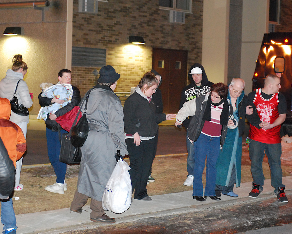 2/9/2011 Allentown, PA Emergency crews respond to a massive explosion Wednesday night in the area of 13th and Allen Street. Residents of Gross Towers were forced to evacuate their apartments and relocate to the Allentown Fairgrounds. Express-Times Photo |CHRIS POST