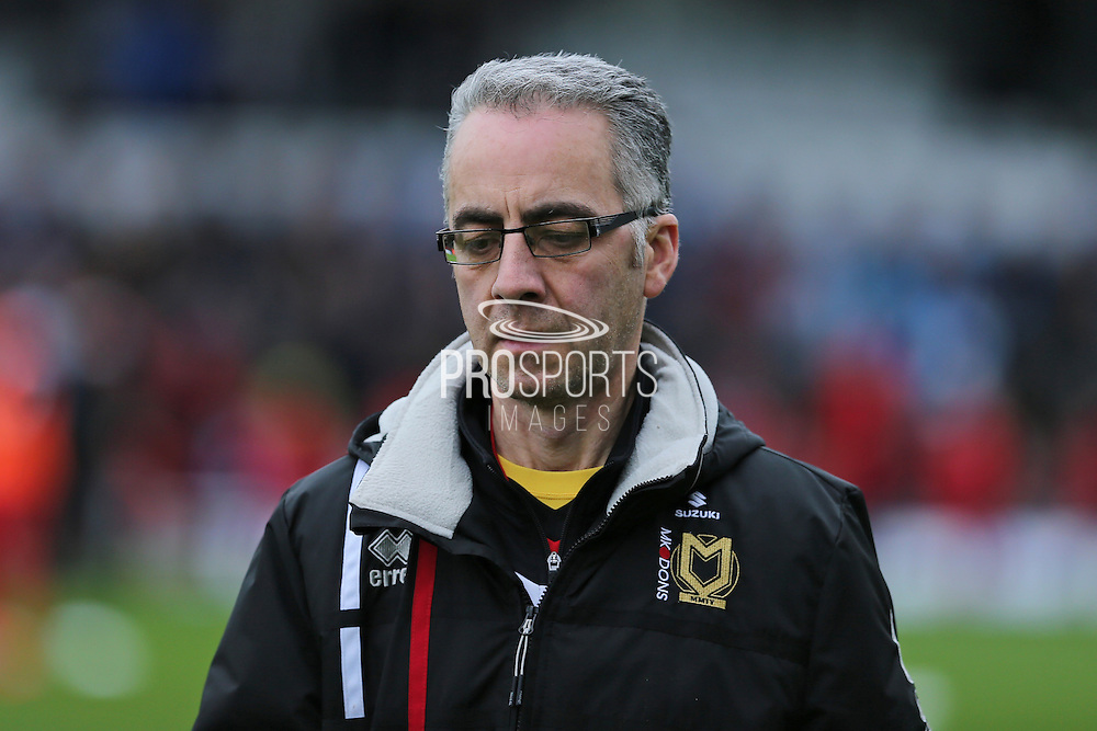 MK Dons coaching staff during the EFL Sky Bet League 1 match between Bristol Rovers and Milton Keynes Dons at the Memorial Stadium, Bristol, England on 19 November 2016. Photo by Gary Learmonth.