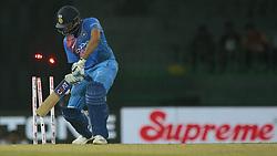 March 8, 2018 - Colombo, Sri Lanka - Indian cricket captain Rohit Sharma is bowled out during the 2nd T20 cricket match of NIDAHAS Trophy between India  and Bangladesh at R Premadasa cricket ground, Colombo, Sri Lanka on Thursday 8 March 2018. (Credit Image: © Tharaka Basnayaka/NurPhoto via ZUMA Press)