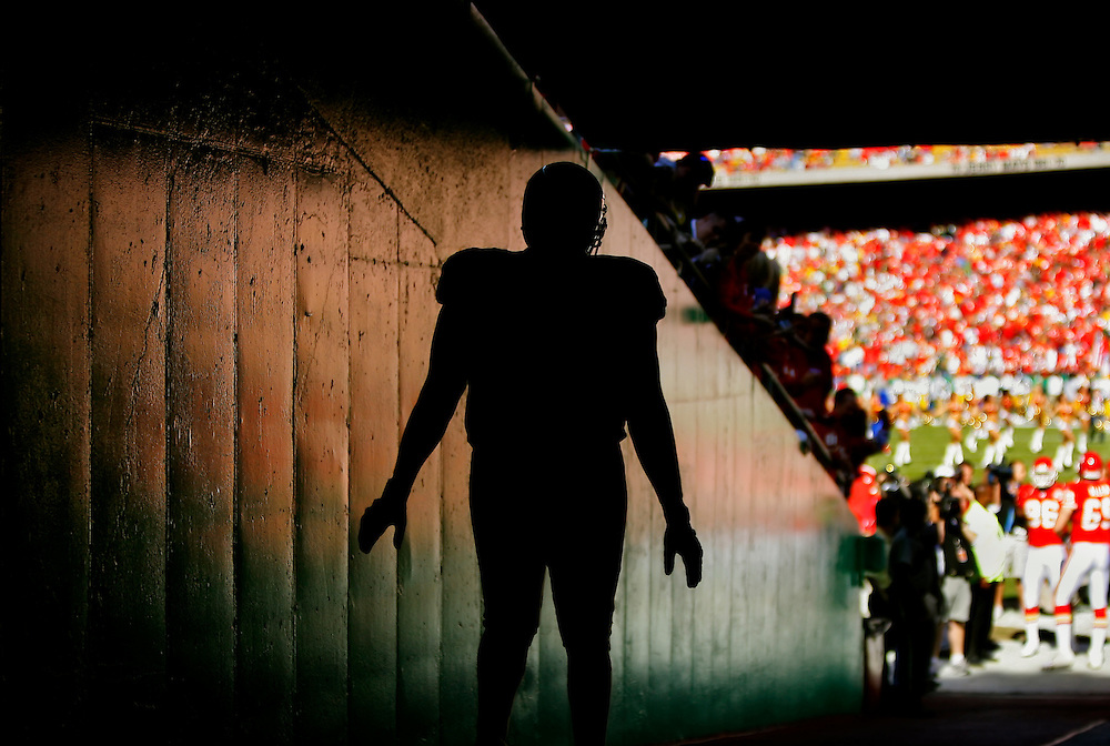 Kansas City Chiefs tackle Damion McIntosh walked down the main tunnel before introductions in the contest against the Green Bay Packers on November 4, 2007 at Arrowhead Stadium.