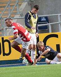 Hamilton's Darian Mackinnon tackles Falkirk's Stephen Kingsley.<br /> half time : Falkirk 0 v  0 Hamilton, Scottish Championship 31/8/2013.<br /> &copy;Michael Schofield.