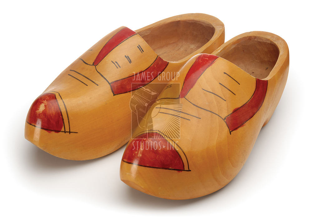 Wooden shoes shot on white with clipping path