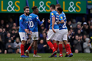 Goal, Jamal Lowe of Portsmouth scores, Portsmouth 3-1 Bradford City during the EFL Sky Bet League 1 match between Portsmouth and Bradford City at Fratton Park, Portsmouth, England on 2 March 2019.