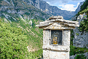 Roadside shrine, Zagori, Pindus mountains, Epirus, Greece.