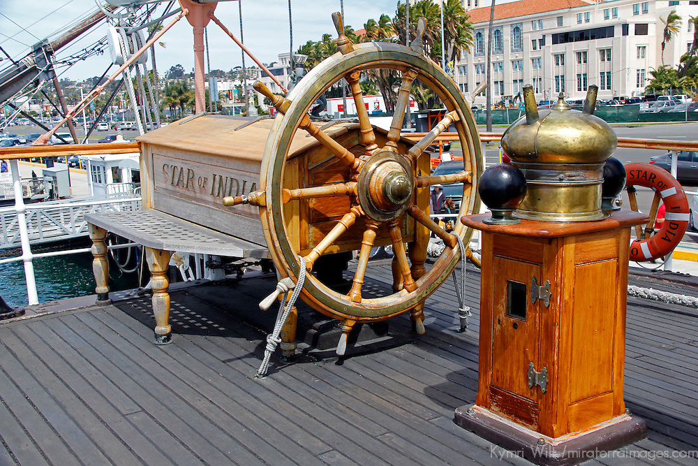 USA, California, San Diego. Star of India Sailing Ship Wheel, at the San Diego Maritime Museum.