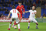 Wales forward Kiefer Moore during the Friendly match between Wales and Belarus at the Cardiff City Stadium, Cardiff, Wales on 9 September 2019.