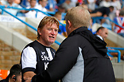 Gillingham FC head coach (manager) Adrian Pennock and Bradford City Manager Stuart McCall shake hands before kick off during the EFL Sky Bet League 1 match between Gillingham and Bradford City at the MEMS Priestfield Stadium, Gillingham, England on 12 August 2017. Photo by Andy Walter.