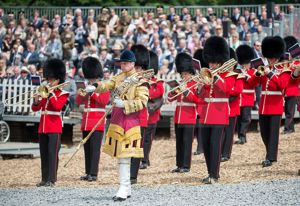 "© London News Pictures. 17/06/2015. BELGIUM. <br /> During the ceremony, the Band of the Coldstream Guards played a new piece of music composed for the occasion: ""Hougoumont Farm"". 200 years since the eve of the Battle of Waterloo, Their Royal Highnesses The Prince of Wales and the Duchess of Cornwall attended a special ceremony at Hougoumont Farm, the Belgian Farm Wellington claimed was instrumental in his victory.  Photo credit: Sergeant Rupert Frere/LNP"