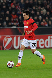 27.11.2013, BayArena, Leverkusen, GER, UEFA CL, Bayer Leverkusen vs Manchester United, Gruppe A, im Bild Shinji Kagawa ( Manchester United / Freisteller ) // during UEFA Champions League group A match between Bayer Leverkusen vs Manchester United at the BayArena in Leverkusen, Germany on 2013/11/28. EXPA Pictures © 2013, PhotoCredit: EXPA/ Eibner-Pressefoto/ Thienel<br /> <br /> *****ATTENTION - OUT of GER*****