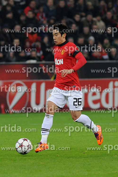 27.11.2013, BayArena, Leverkusen, GER, UEFA CL, Bayer Leverkusen vs Manchester United, Gruppe A, im Bild Shinji Kagawa ( Manchester United / Freisteller ) // during UEFA Champions League group A match between Bayer Leverkusen vs Manchester United at the BayArena in Leverkusen, Germany on 2013/11/28. EXPA Pictures &copy; 2013, PhotoCredit: EXPA/ Eibner-Pressefoto/ Thienel<br /> <br /> *****ATTENTION - OUT of GER*****