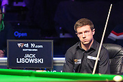 Jack Lisowski gets himself in the zone as play gets underway for the final session at the World Snooker 19.com Scottish Open Final Mark Selby vs Jack Lisowski at the Emirates Arena, Glasgow, Scotland on 15 December 2019.