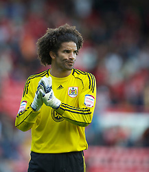 BRISTOL, ENGLAND - Saturday, August 7, 2010: Bristol City's new signing England international goalkeeper David James walks off dejected following his side's 3-0 defeat by Millwall during the League Championship match at Ashton Gate. (Pic by: David Rawcliffe/Propaganda)