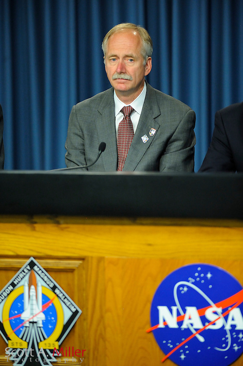 Bill Gerstenmaier, associate administrator for Space Operations, NASA Headquarters speaks to the media following Space Shuttle Atlantis landing at Kennedy Space Center in Cape Canaveral, Fla. on July 21, 2011. The landing capped off a 13-day mission to supply the International Space Station and ends NASA's 30-year-old space shuttle program...©2011 Scott A. Miller.