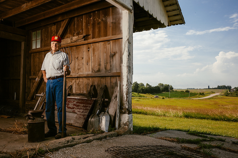 Farmer Orval Brenneman.<br /> Photographed by editorial photographer Nathan Lindstrom