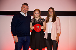 NEWPORT, WALES - Saturday, May 19, 2018: Katie Young is presented with her Under-16's cap by Osian Roberts (left) and Lauren Dykes (right) during the Football Association of Wales Under-16's Caps Presentation at the Celtic Manor Resort. (Pic by David Rawcliffe/Propaganda)