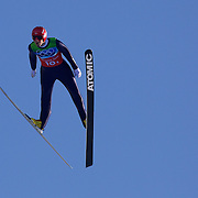 Winter Olympics, Vancouver, 2010.Anders Bardal, Norway, winning a Bronze Medal with his team in the Ski Jumping Team final event at Whistler Olympic Park , Whistler, during the Vancouver Winter Olympics. 22nd February 2010. Photo Tim Clayton