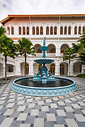 Cast iron fountain at the Raffles Hotel, Singapore, Republic of Singapore