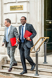 Kwasi Kwarteng, Minister for the Department for Business, Energy and Industrial Strategy leaves the Cabinet Office after meetings.<br /> <br /> Richard Hancox   EEm 12082019