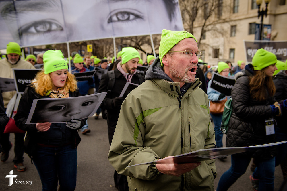 The Rev. Terry R. Forke, president of Montana District, walks with fellow Lutherans during the March for Life 2017 on Friday, Jan. 27, 2017, in Washington, D.C. LCMS Communications/Erik M. Lunsford