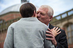 © Licensed to London News Pictures . 22/06/2016 . Birmingham , UK . CAROLINE LUCAS and PADDY ASHDOWN . British Conservative Party Prime Minister David Cameron , Tim Farron and Paddy Ashdown from the Liberal Democrat Party and Harriet Harman from the Labour Party , attend a joint rally at Birmingham University in support of the REMAIN in EU campaign , ahead of referendum polling opening tomorrow morning (23rd June 2016) . Photo credit: Joel Goodman/LNP