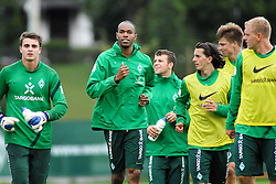 09.08.2011, Trainingsgelaende, Bremen, GER, 1.FBL, Training Werder Bremen, im Bild .auslaufen, Sebastian Mielitz (Bremen #21) Naldo (Bremen #4) Lukas Schmitz (Bremen #13) Aleksandar Stevanovic (Bremen #34) Sebastian Prödl / Proedl (Bremen #15) Andreas Wolf (Bremen #23).// during training session from Werder Bremen on 2011/08/09, Trainingsgelaende Werder Bremen, Bremen, Germany. ..EXPA Pictures © 2011, PhotoCredit: EXPA/ nph/  Gumz       ****** out of GER / CRO  / BEL ******