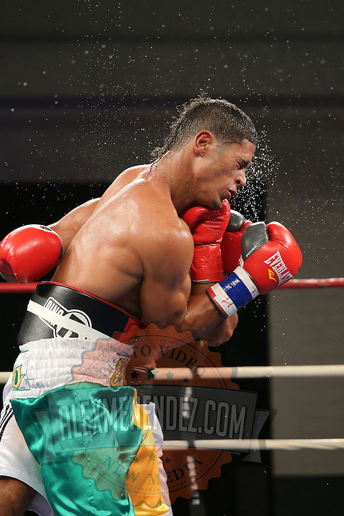 """Julio Santos (green shorts) fights against Lazar Stojadinovic during a """"Boxeo Telemundo"""" boxing match at the Kissimmee Civic Center on Friday, July 18, 2014 in Kissimmee, Florida.  (AP Photo/Alex Menendez)"""