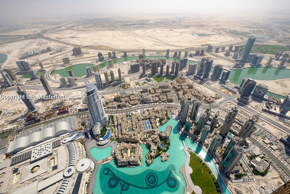 Skyline of Downtown Dubai from Burj Khalifa with Dubai Mall on the left United Arab Emirates