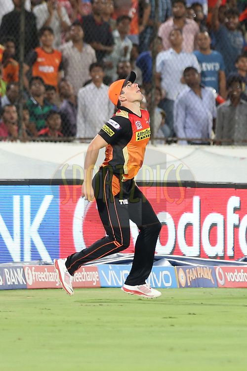Sunrisers Hyderabad player Moises Henriques attempts to catch the ball during match 27 of the Vivo IPL 2016 (Indian Premier League ) between the Sunrisers Hyderabad and the Royal Challengers Bangalore held at the Rajiv Gandhi Intl. Cricket Stadium, Hyderabad on the 30th April 2016<br /> <br /> Photo by Faheem Hussain / IPL/ SPORTZPICS