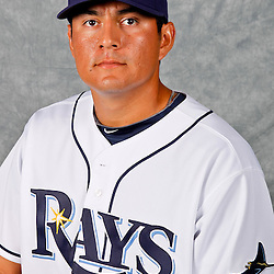 February 29, 2012; Port Charlotte, FL, USA; Tampa Bay Rays relief pitcher Cesar Ramos (27) poses for a portrait during photo day at Charlotte Sports Park.  Mandatory Credit: Derick E. Hingle-US PRESSWIRE