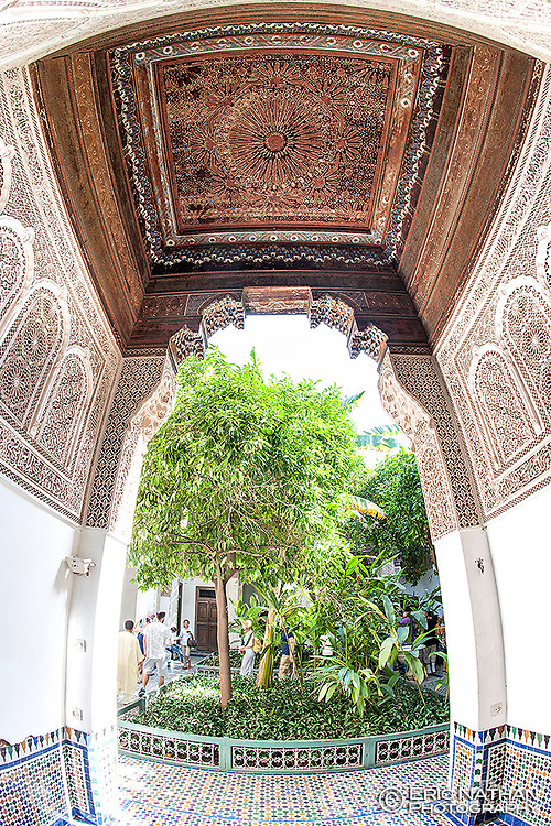 Alcove and courtyard of the Bahia Palace in Marrakech, Morocco.