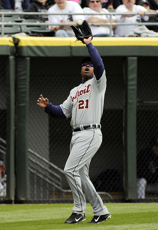 CHICAGO - APRIL 13:  Delmon Young #21 of the Detroit Tigers fields against the Chicago White Sox on April 13, 2012 bats U.S. Cellular Field in Chicago, Illinois.  The White Sox defeated the Tigers 5-2.  (Photo by Ron Vesely)   Subject:  Delmon Young