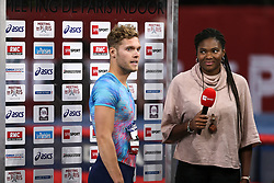February 7, 2018 - Paris, Ile-de-France, France - Kevin Mayer of France wins the 60m Hurdles during the Athletics Indoor Meeting of Paris 2018, at AccorHotels Arena (Bercy) in Paris, France on February 7, 2018. (Credit Image: © Michel Stoupak/NurPhoto via ZUMA Press)