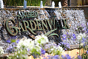 Anaheim Garden Walk Stacked Stone Water Fountain Monument