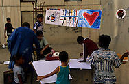 France. Marseille. la castellane. painting for children in the suburb. association art et developpement  Marseille  France   / cite la castellane. atelier de peinture dans les cites organise par l'association art et developpement   Marseille  France