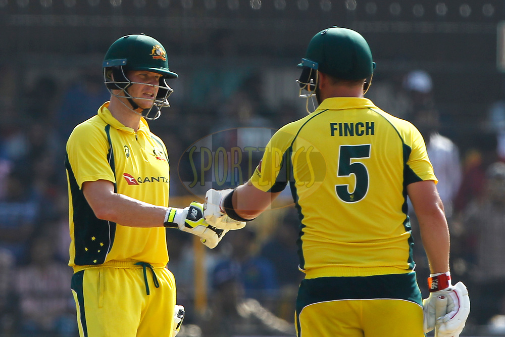 Steven Smith captain of Australia with Aaron Finch of Australia during the 3rd One Day International between India and Australia held at the Holkar Stadium in Indore on the 24th  September 2017<br /> <br /> Photo by Deepak Malik / BCCI / SPORTZPICS