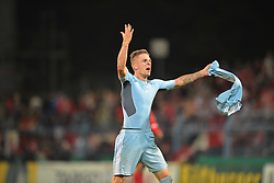 15.08.2014, Stadion an der Gellertstrasse, Chemnitz, GER, DFB Pokal, Chemnitzer FC vs 1. FSV Mainz 05, 1. Runde, im Bild Torjubel / Freude von Marco Kehl-Gomez (Chemnitzer FC #14) nach dem Fuehrungs Treffer, Tor zum 5:4 // during the 1st round match of German DFB Pokal between Chemnitzer FC and 1. FSV Mainz 05 at the Stadion an der Gellertstrasse in Chemnitz, Germany on 2014/08/15. EXPA Pictures © 2014, PhotoCredit: EXPA/ Eibner-Pressefoto/ Schmalfuss<br /> <br /> *****ATTENTION - OUT of GER*****