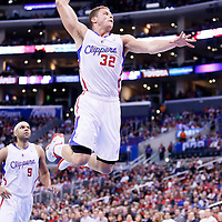 08 January 2014: Los Angeles Clippers power forward Blake Griffin (32) goes for the dunk during the Los Angeles Clippers 111-105 victory over the Boston Celtics at the Staples Center, Los Angeles, California, USA.