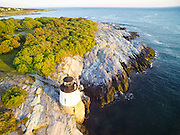 An aerial drone view of Castle Hill Lighthouse of Newport, Rhode Island.