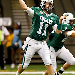 November 10, 2011; New Orleans, LA, USA; Tulane Green Wave quarterback Ryan Griffin (11) against the Houston Cougars during the fourth quarter at the Mercedes-Benz Superdome.  Houston defeated Tulane 73-17. Mandatory Credit: Derick E. Hingle-US PRESSWIRE