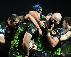 Exeter Chiefs' Openside Flanker, Kai Hortsmann in congratulated on his try  - Photo mandatory by-line: Joe Meredith/JMP - Mobile: 07966 386802 - 24/01/2015 - SPORT - Rugby - Exeter - Sandy Park Stadium - Exeter Chiefs v Bayonne - Challenge Cup Round 6