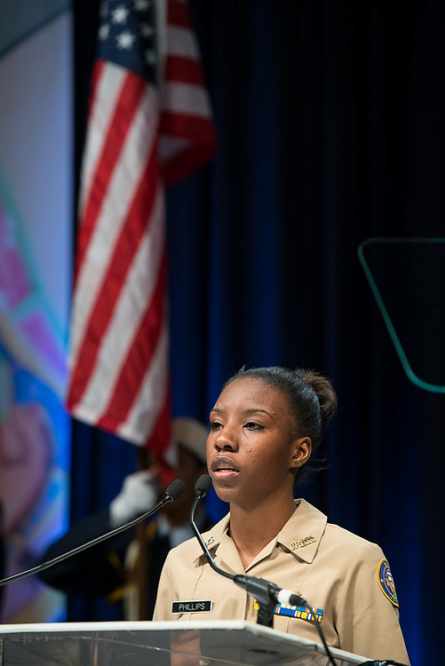 North Forest High School JROTC cadet Terrisha Phillips recites the Pledge of Allegence during the Houston ISD State of the Schools luncheon at the Hilton of the Americas, February 26, 2014.